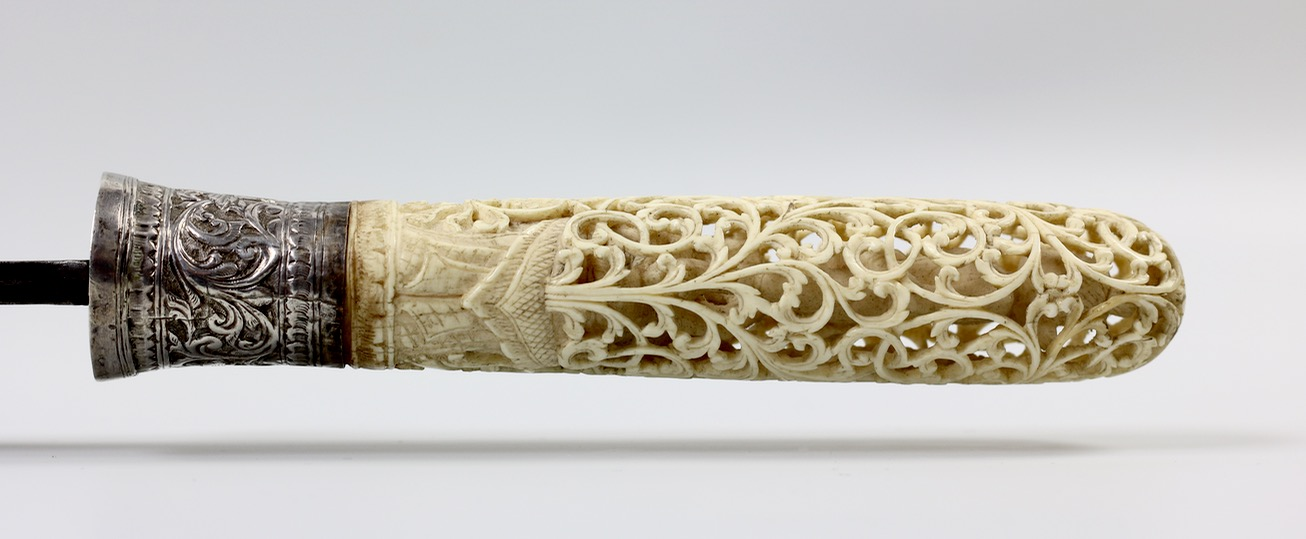 A Burmese dha with openwork ivory handle