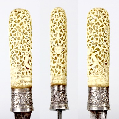 A dha sword with openwork ivory handle