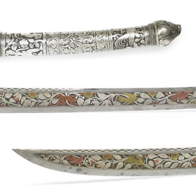A very rare Burmese dha with multi-color overlays on the blade. mandarinmansion.com
