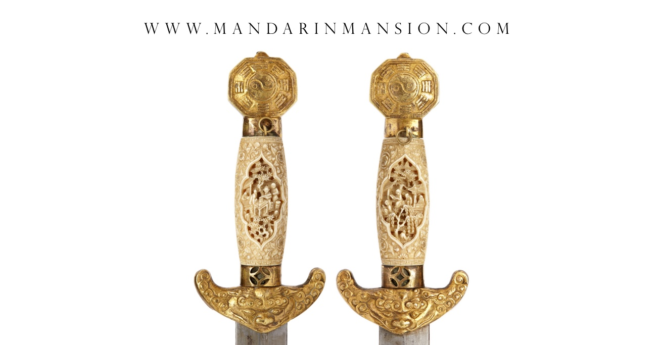 Antique Chinese double swords with carved ivory handles. Guangzhou, 1830's - 40's