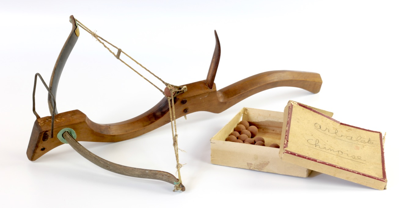 An antique Chinese pellet crossbow.