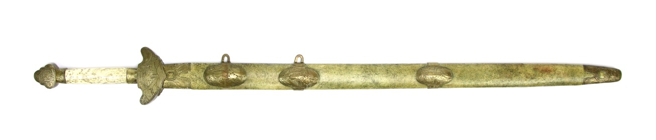 A large Chinese straightsword with Qianlong reign marks.