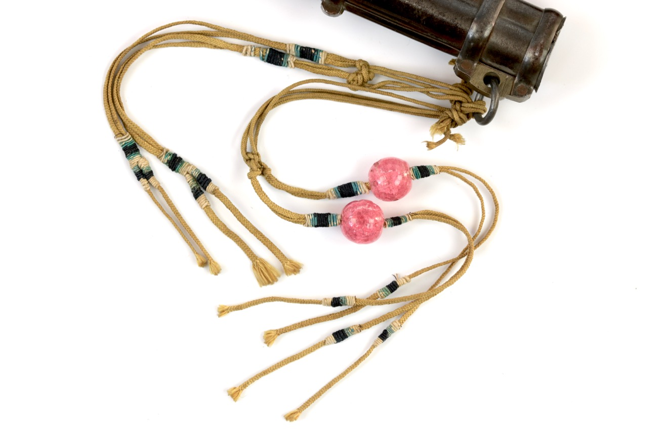 A Chinese trousse set with glass trinkets