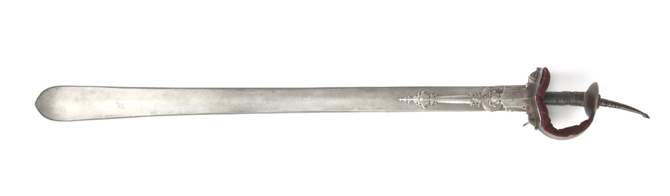 A large and impressive all-steel khanda with wootz blade.