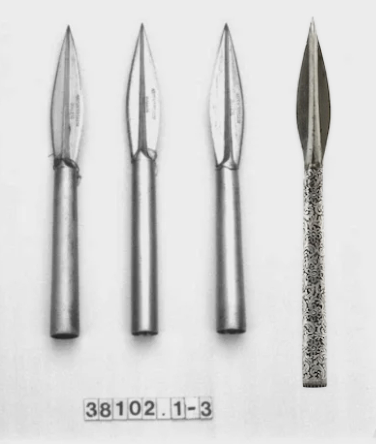 An Indian javelin head compared to three in the Royal Collection