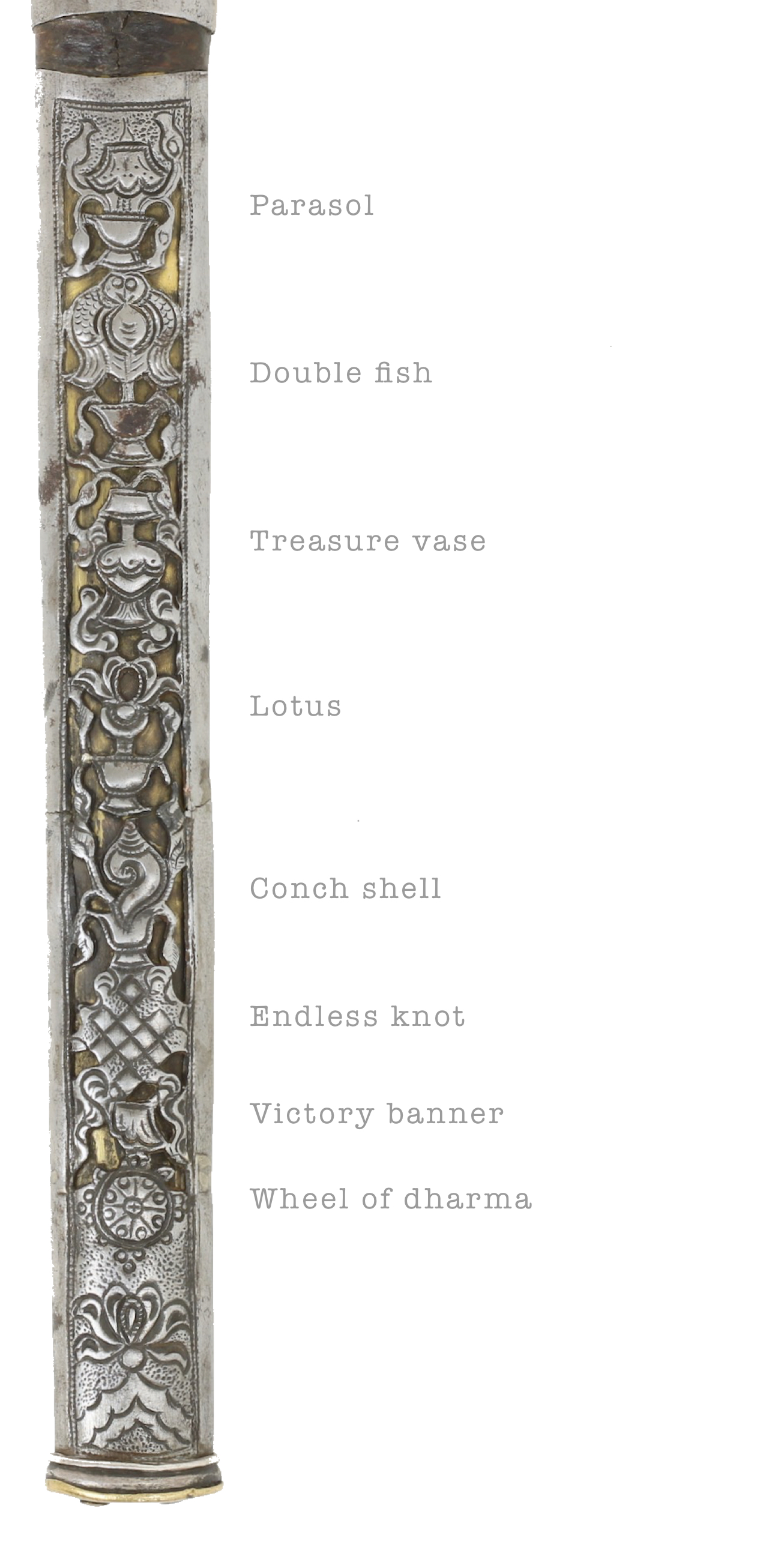 Buddhist symbols on an antique Mongolian knife scabbard