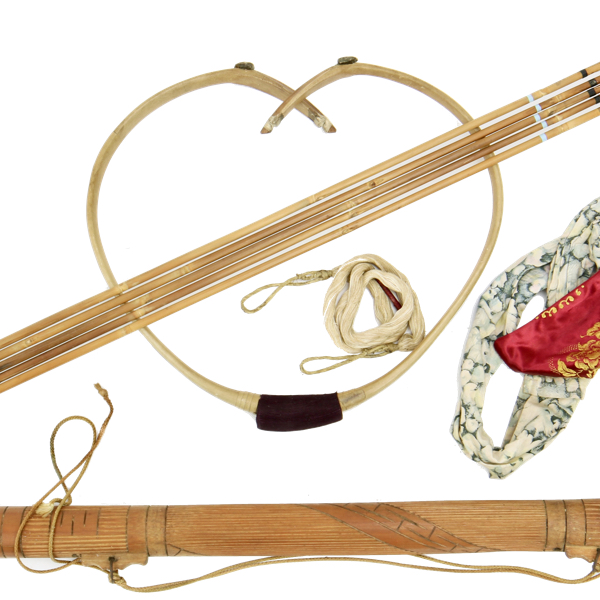 Korean archery set with hornbow, quivers, arrows, bow bag and string logo