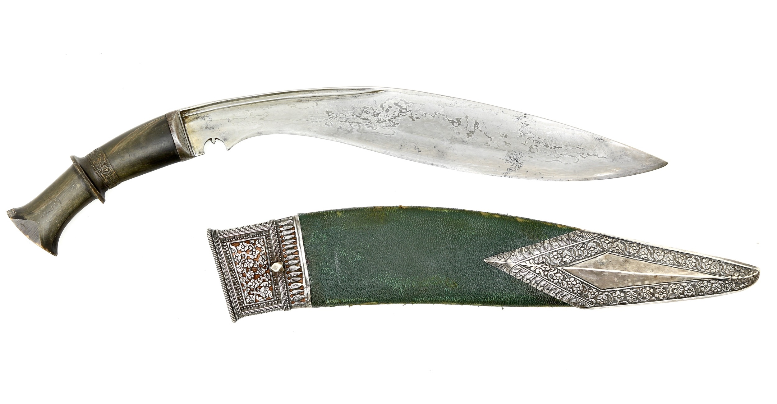 Fine Nepalese kukri or khukuri with silver mounts