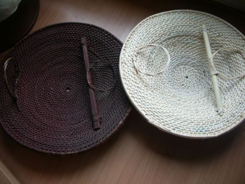 Old and new rattan shields