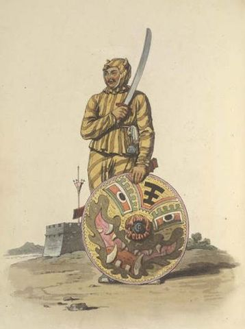 18th century drawing of rattan shield bearer