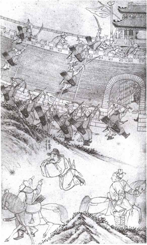 An illustration from the Manchu Veritable Records, showing a battle scene where Nurhaci's Manchus take on Chinese fortifications with ladders.
