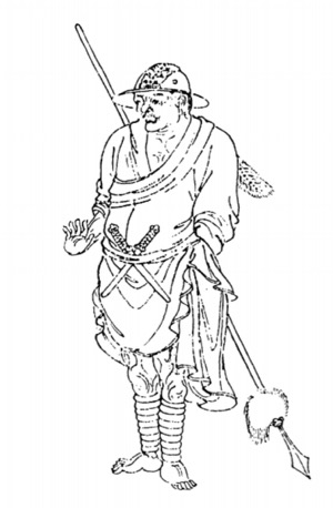 Woodblock illustration of a native from Lesser Jinchuan
