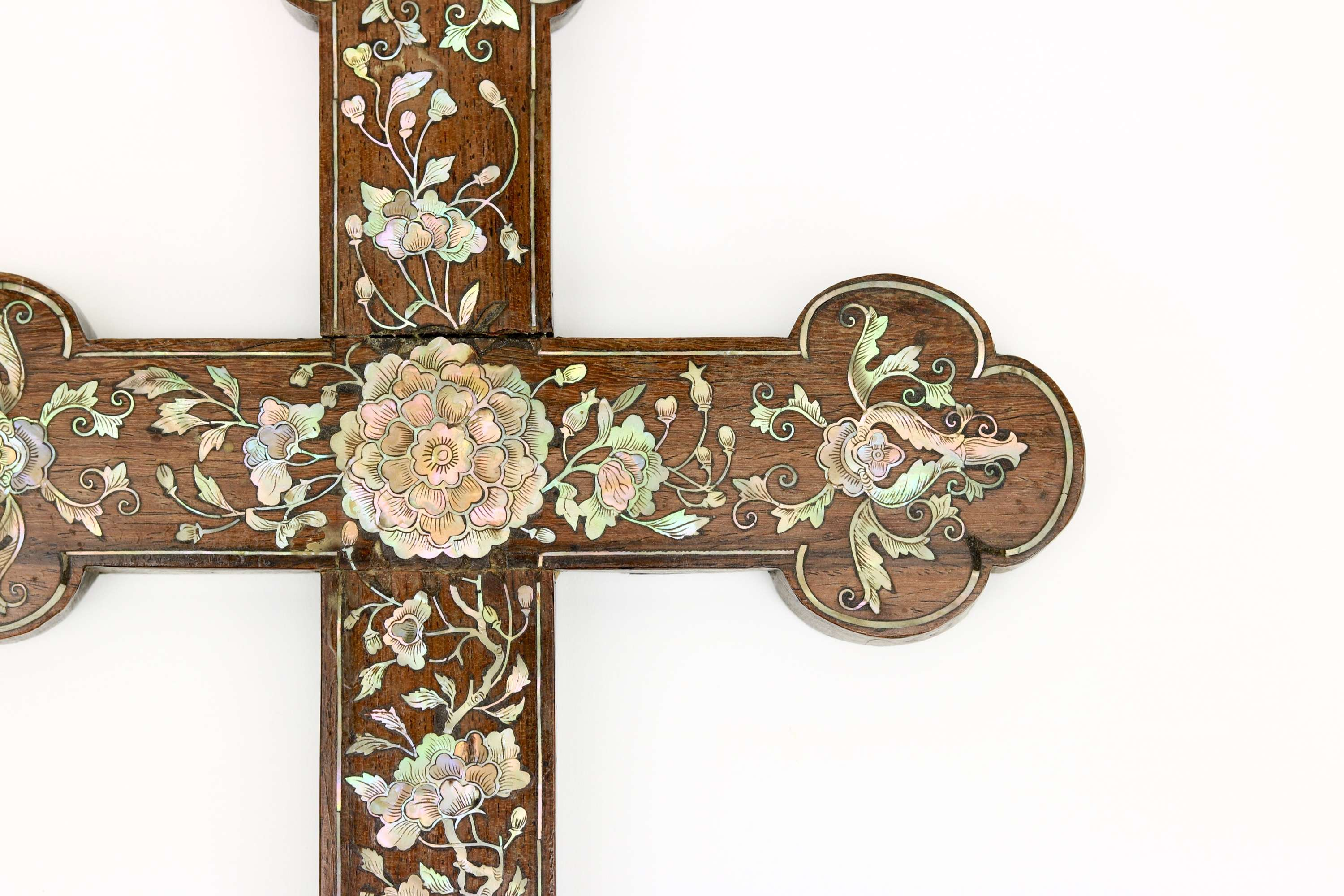 Christian wooden mother-of-pearl inlaid cross Nguyen dynasty Vietnam
